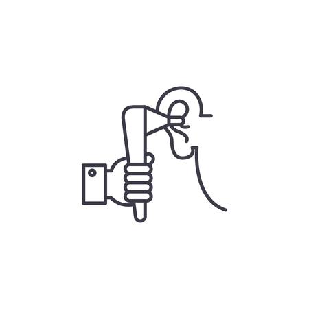 Examination by otolaryngologist linear icon concept. Examination by otolaryngologist line vector sign, symbol, illustration. Illustration