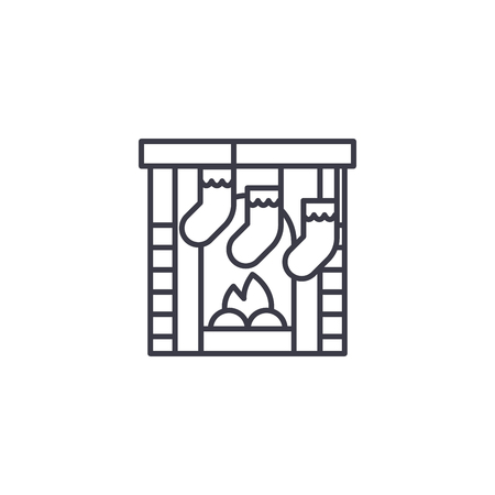 Kamin lineares Symbolkonzept. Kaminlinienvektorzeichen, -symbol, -illustration. Vektorgrafik