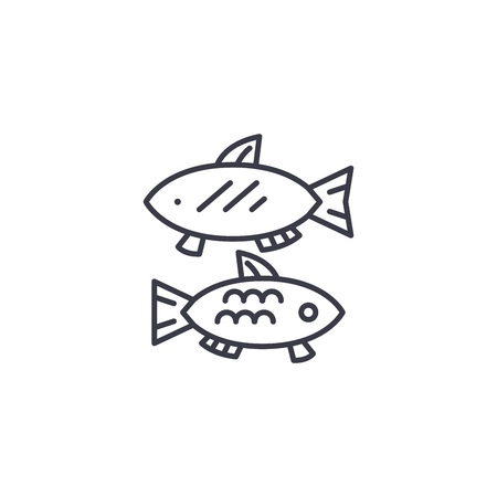 Fish food linear icon concept. Fish food line vector sign, symbol, illustration.