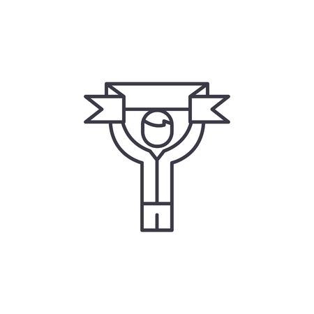 Lineares Symbolkonzept des Fußballfans. Fußball Fan Linie Vektor Zeichen, Symbol, Illustration.