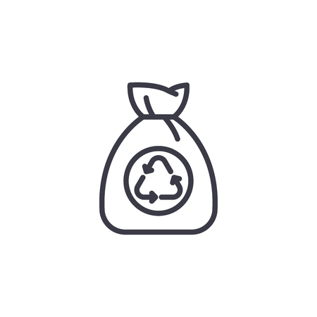 Garbage bag linear icon concept. Garbage bag line vector sign, symbol, illustration.