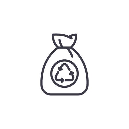 Garbage bag linear icon concept. Garbage bag line vector sign, symbol, illustration.