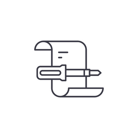 Fulfilled works report linear icon concept. Fulfilled works report line vector sign, symbol, illustration.