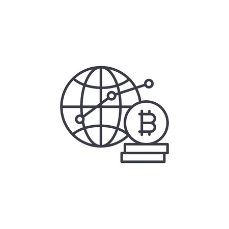 Global bitcoin demand linear icon concept. Global bitcoin demand line vector sign, symbol, illustration.