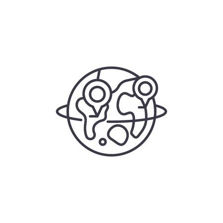 Global logistics linear icon concept. Global logistics line vector sign, symbol, illustration. Illustration