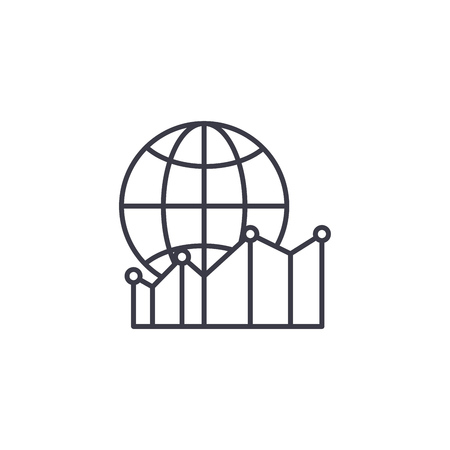 Global metrics linear icon concept. Global metrics line vector sign, symbol, illustration. 스톡 콘텐츠 - 102570317