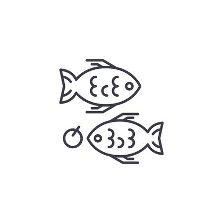 Fried Fish linear icon concept. Fried Fish line vector sign, symbol, illustration.