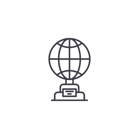 Globe cup linear icon concept. Globe cup line vector sign, symbol, illustration.