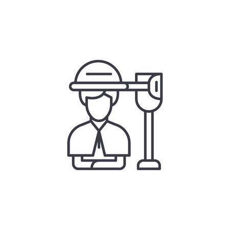 Concepto de icono lineal de salón de secador de pelo. Secador de pelo salón línea vector de señal, símbolo, Ilustración.