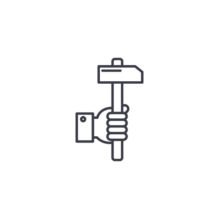 Hammer in hand linear icon concept. Hammer in hand line vector sign, symbol, illustration. Ilustração