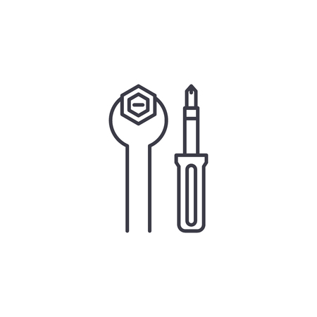 Hand tools linear icon concept. Hand tools line vector sign, symbol, illustration.