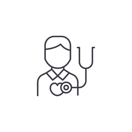 Heart rate auscultation linear icon concept. Heart rate auscultation line vector sign, symbol, illustration.