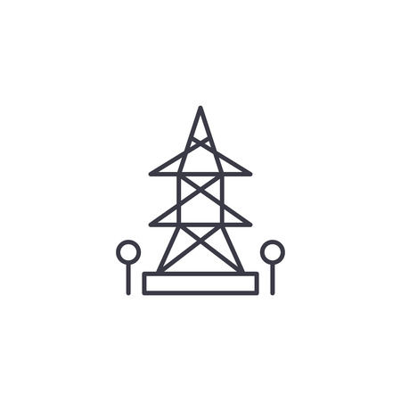 High-tension tower linear icon concept. High-tension tower line vector sign, symbol, illustration.