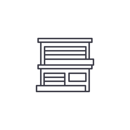 House with garage linear icon concept. House with garage line vector sign, symbol, illustration.