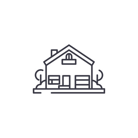 House with yard linear icon concept. House with yard line vector sign, symbol, illustration. Иллюстрация