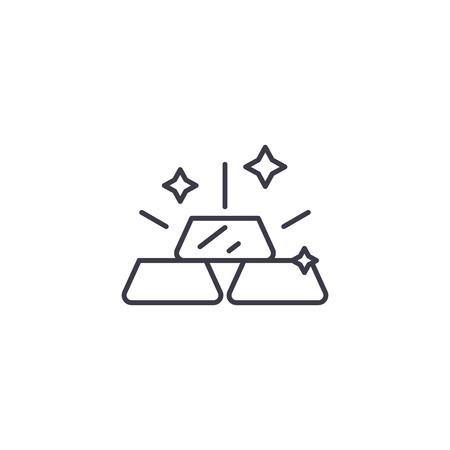 Gold bar linear icon concept. Gold bar line vector sign, symbol, illustration.  イラスト・ベクター素材