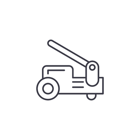 Industrial trolley linear icon concept. Industrial trolley line vector sign, symbol, illustration.