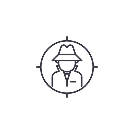 Concept d'icône linéaire d'enquête. Signe de vecteur de ligne d'enquête, symbole, illustration.