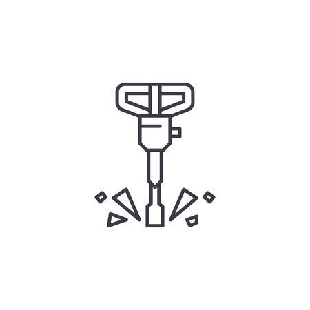 Jackhammer linear icon concept. Jackhammer line vector sign, symbol, illustration. Stock Illustratie