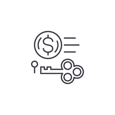 Key revenue linear icon concept. Key revenue line vector sign, symbol, illustration.
