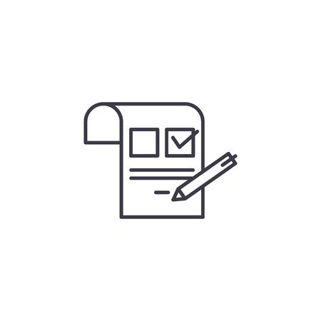 Inquiring linear icon concept. Inquiring line vector sign, symbol, illustration. Stock Illustratie