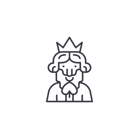 King of spades linear icon concept. King of spades line vector sign, symbol, illustration.