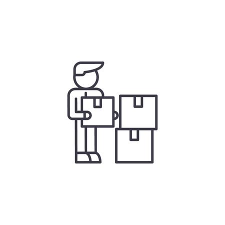 Logistiek manager lineaire pictogram concept. Logistiek manager lijn vector teken, symbool, afbeelding.