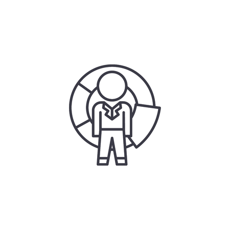 Manager competition linear icon concept. Manager competition line vector sign, symbol, illustration.