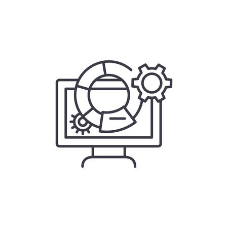 Marketing metrics linear icon concept. Marketing metrics line vector sign, symbol, illustration.