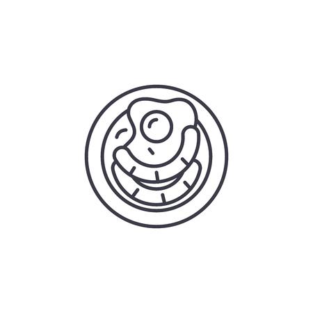 Fried egg sausages linear icon concept. Fried egg sausages line vector sign, symbol, illustration.