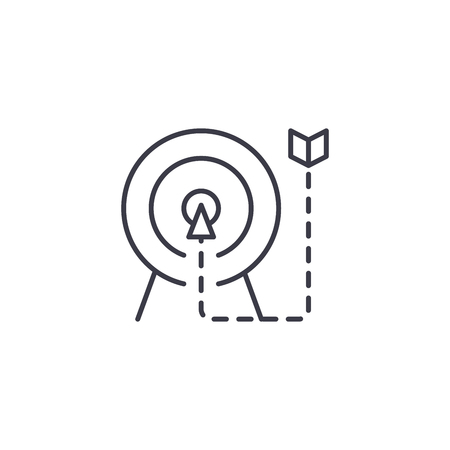 Means to an end linear icon concept. Means to an end line vector sign, symbol, illustration. 일러스트