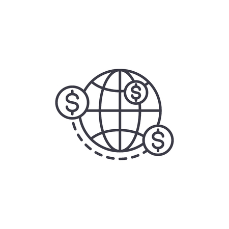 Money transfers linear icon concept. Money transfers line vector sign, symbol, illustration. Ilustrace