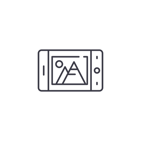 Mobile camera linear icon concept. Mobile camera line vector sign, symbol, illustration.
