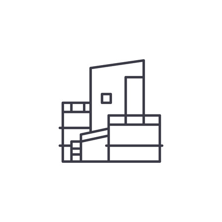 Oil company linear icon concept. Oil company line vector sign, symbol, illustration.