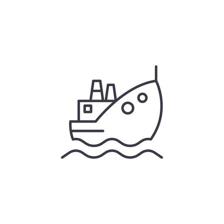 Oil tanker linear icon concept. Oil tanker line vector sign, symbol, illustration.
