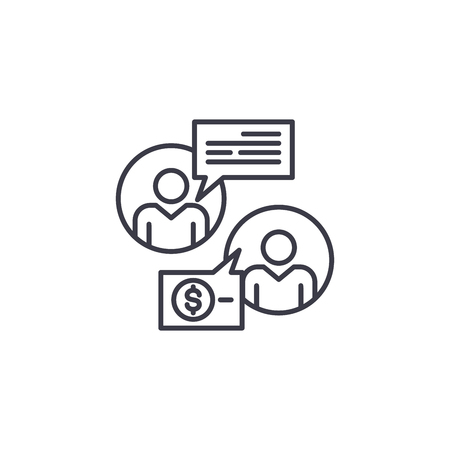 Negotiating a contract linear icon concept. Negotiating a contract line vector sign, symbol, illustration. Illustration