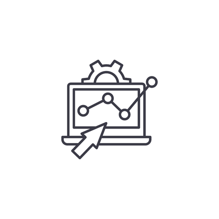 Monitoring trends linear icon concept. Monitoring trends line vector sign, symbol, illustration.