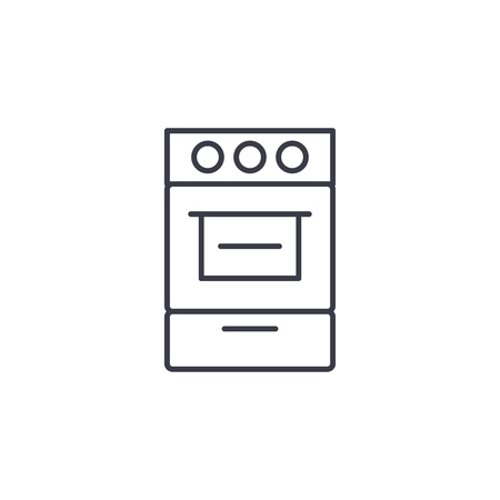 Oven linear icon concept. Oven line vector sign, symbol, illustration.