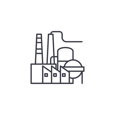Petroleum refinery linear icon concept. Petroleum refinery line vector sign, symbol, illustration. 矢量图像