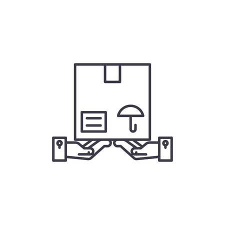 Parcel handling linear icon concept. Parcel handling line vector sign, symbol, illustration. Foto de archivo - 102570733