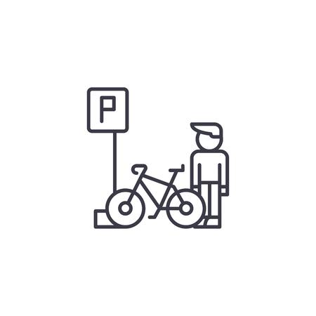 Parkeren voor fietsen lineaire pictogram concept. Parkeren voor fietsen lijn vector teken, symbool, afbeelding.