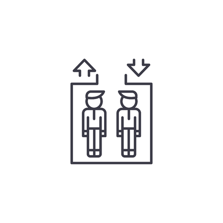Passenger lift linear icon concept. Passenger lift line vector sign, symbol, illustration.