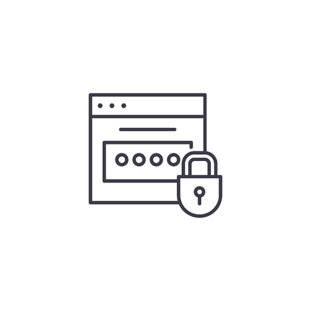 Password linear icon concept. Password line vector sign, symbol, illustration. Stock Illustratie