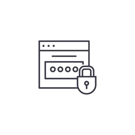 Password linear icon concept. Password line vector sign, symbol, illustration. Ilustração