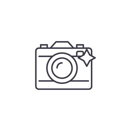 Photo camera linear icon concept. Photo camera line vector sign, symbol, illustration. Illustration