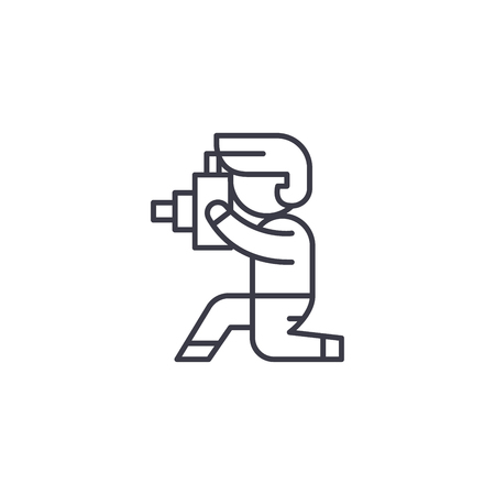 Photographer linear icon concept. Photographer line vector sign, symbol, illustration. Illustration