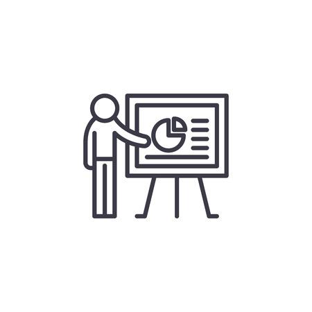 Presentation speech linear icon concept. Presentation speech line vector sign, symbol, illustration.