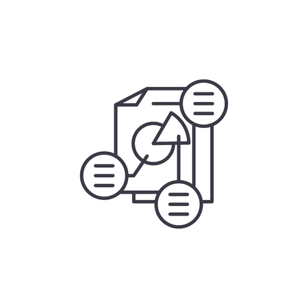 Project consolidation linear icon concept. Project consolidation line vector sign, symbol, illustration.