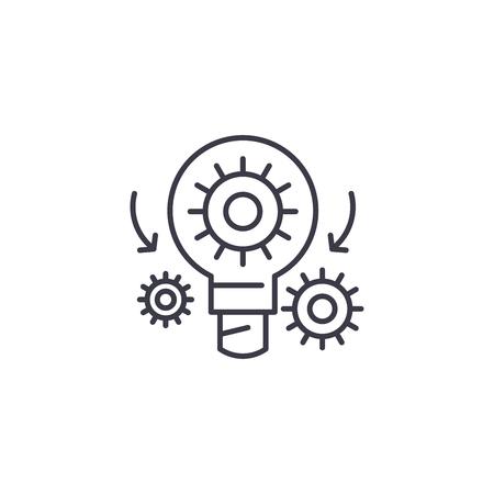 Project elaboration linear icon concept. Project elaboration line vector sign, symbol, illustration.