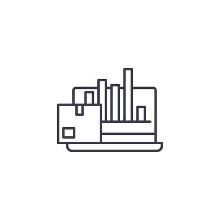 Concetto di icona lineare delle prestazioni di produzione. Segno di vettore di linea di prestazioni di produzione, simbolo, illustrazione.